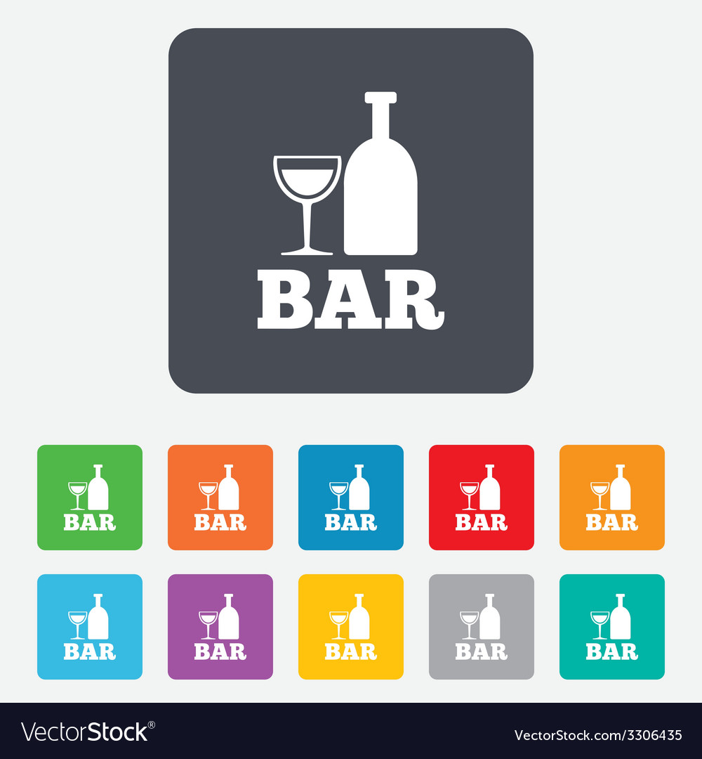 Bar or pub sign icon wine bottle and glass vector | Price: 1 Credit (USD $1)