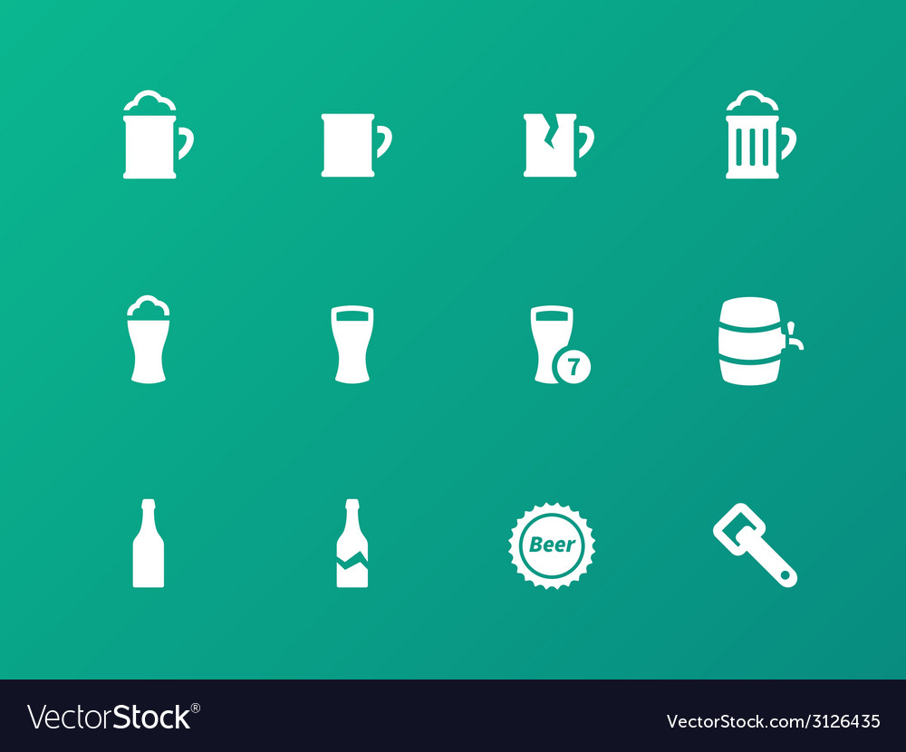 Bottle and glass of beer icons on green background vector | Price: 1 Credit (USD $1)