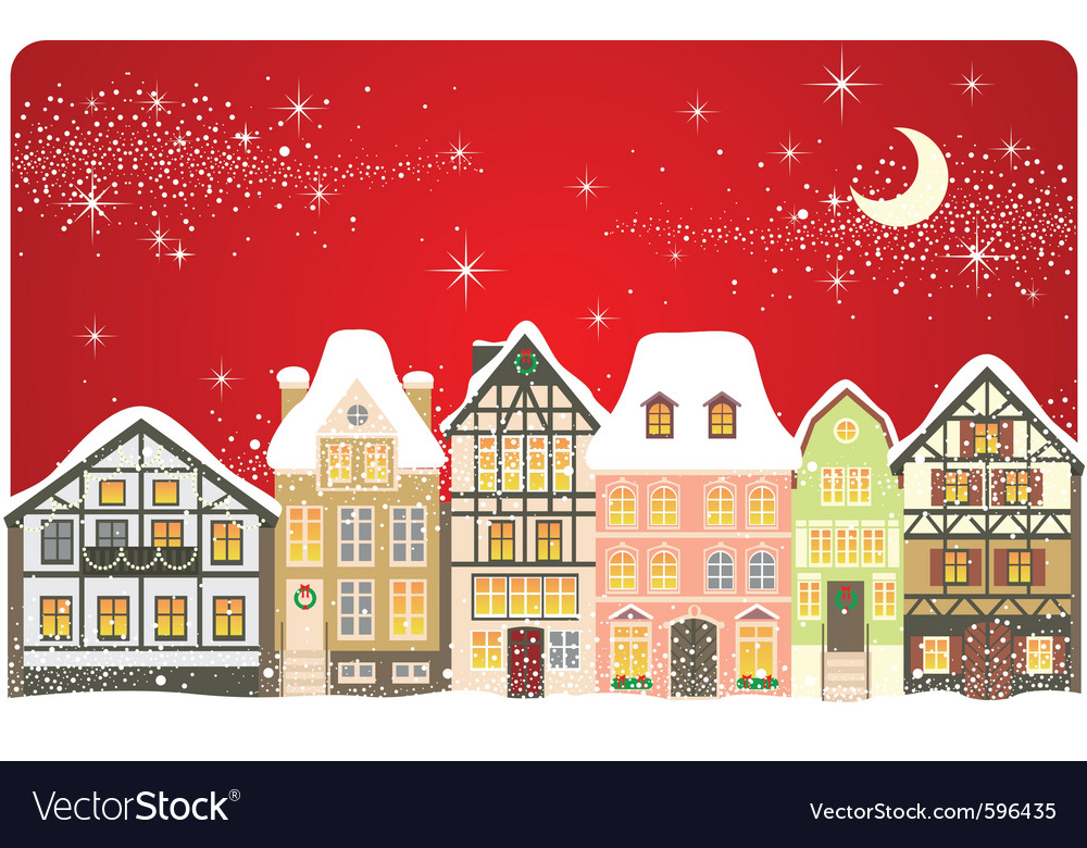 Christmas town vector | Price: 5 Credit (USD $5)