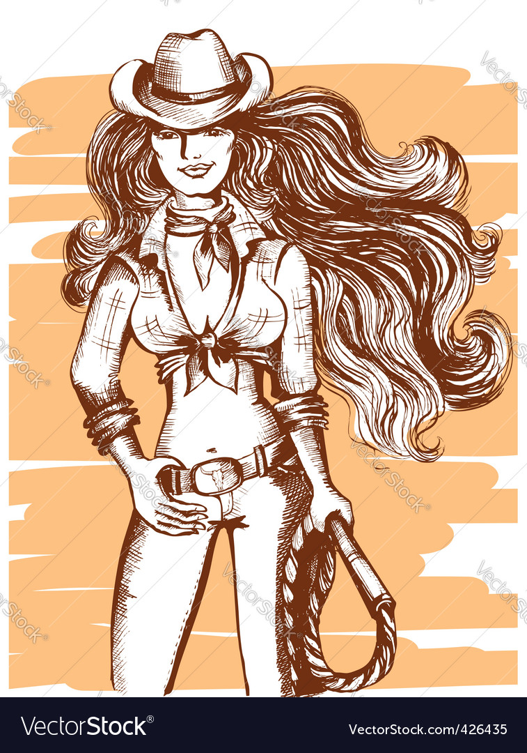 Cowgirl poster vector | Price: 1 Credit (USD $1)