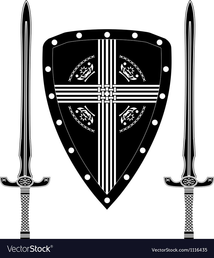 Fantasy shield and swords of european warriors vector | Price: 1 Credit (USD $1)