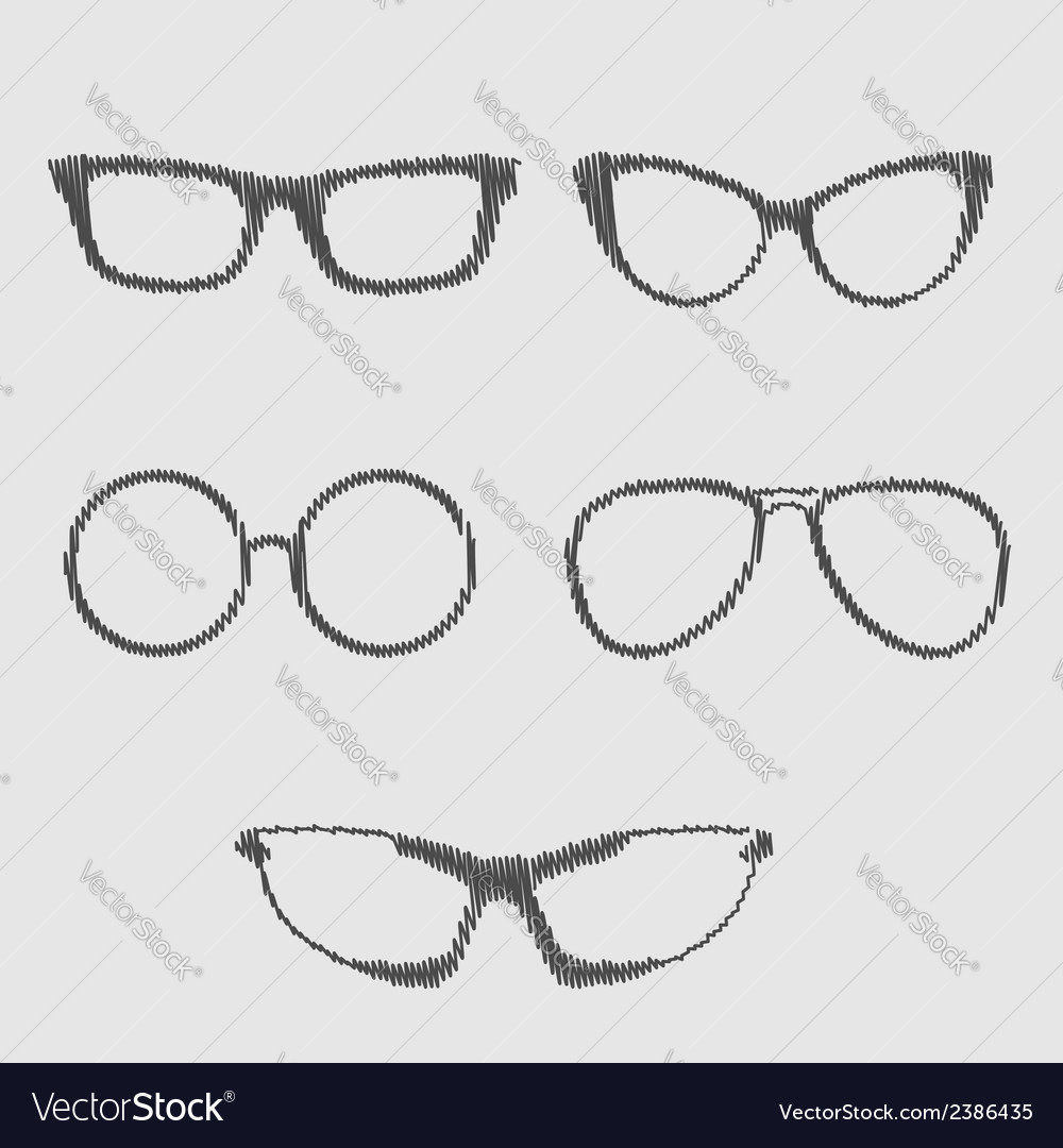 Glasses set isolated icons scribble effect vector | Price: 1 Credit (USD $1)