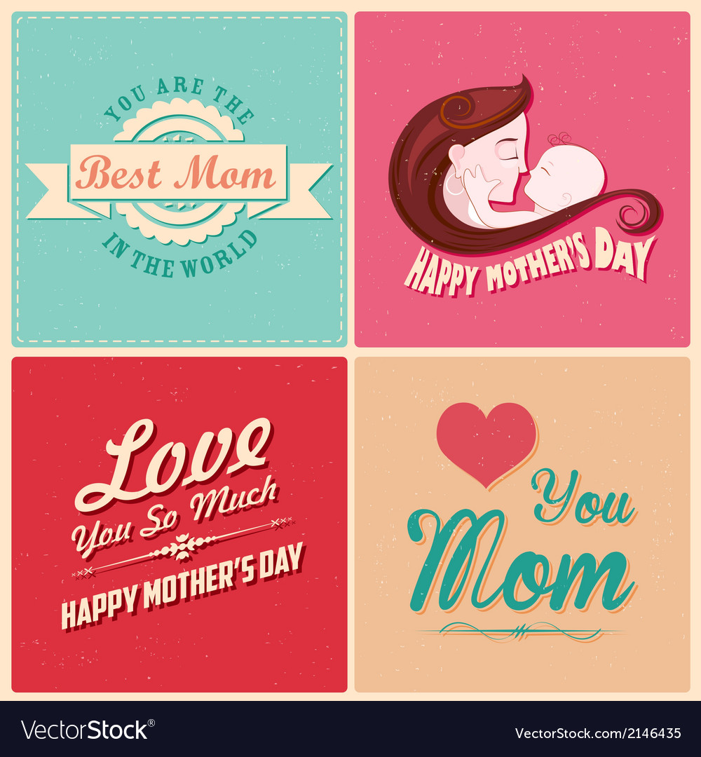 Happy mothers day card template vector | Price: 1 Credit (USD $1)