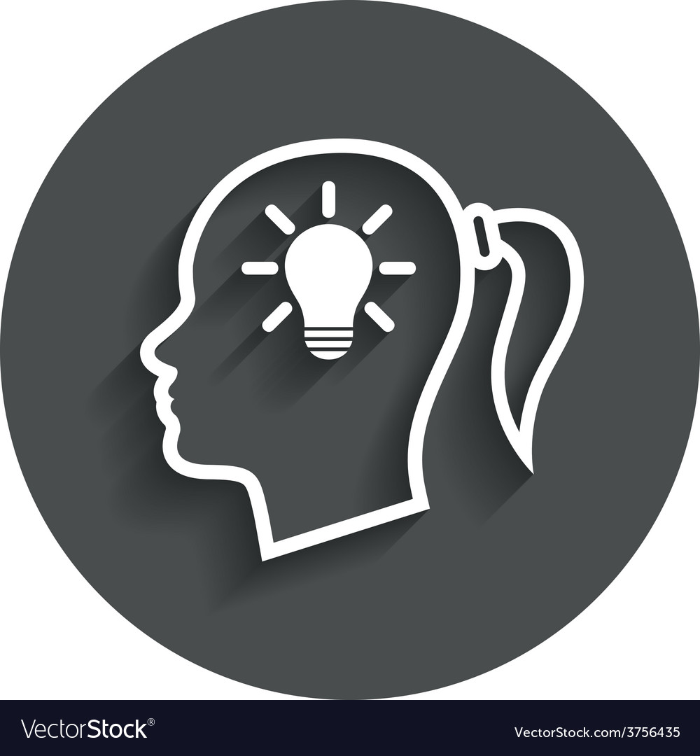 Head with lamp bulb sign icon female woman head vector   Price: 1 Credit (USD $1)