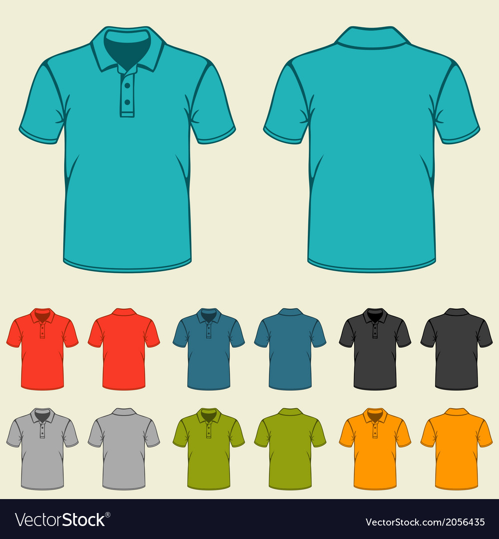Set of templates colored polo shirts for men vector | Price: 1 Credit (USD $1)