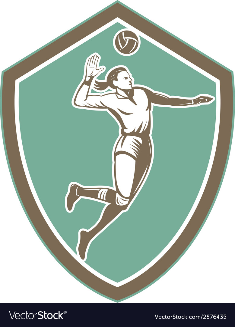 Volleyball player spiking ball shield retro vector   Price: 1 Credit (USD $1)