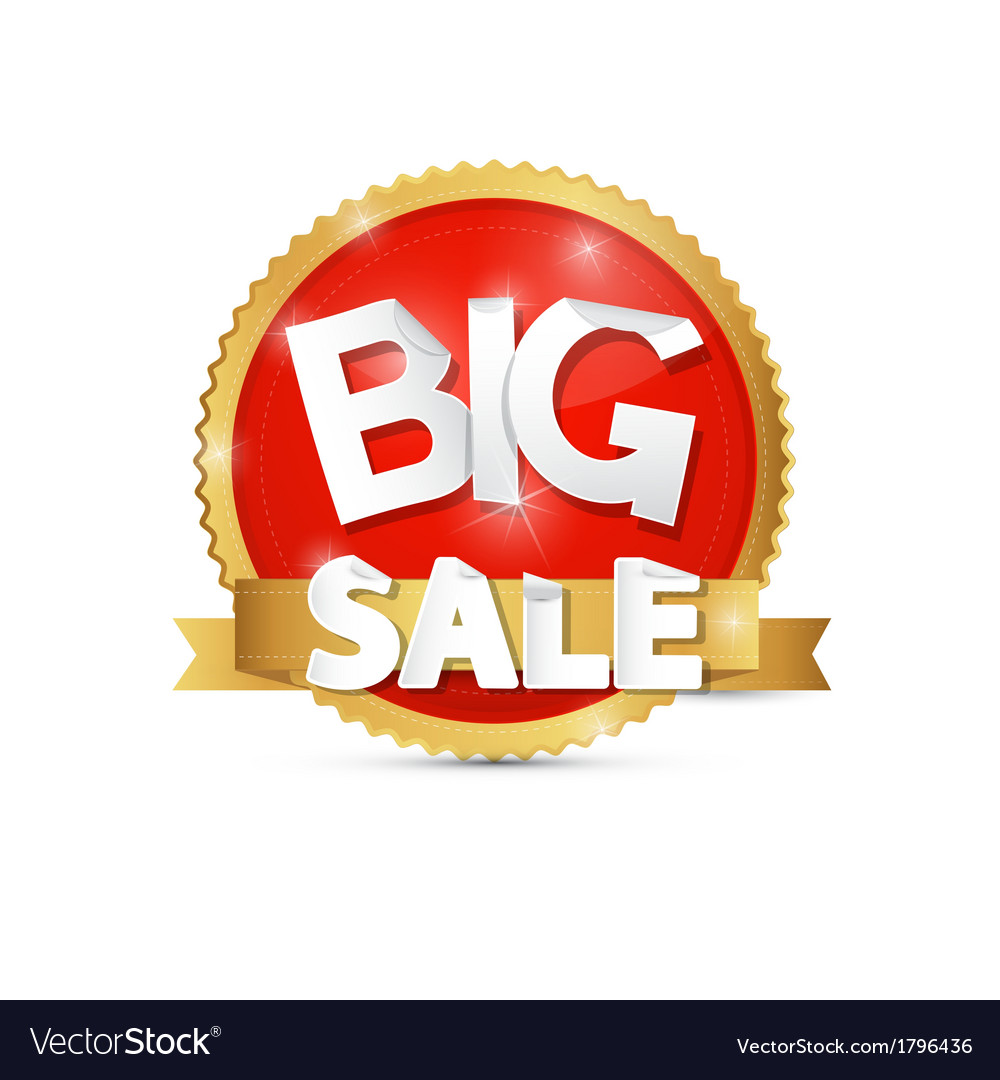 Big sale red gold label sticker vector | Price: 1 Credit (USD $1)