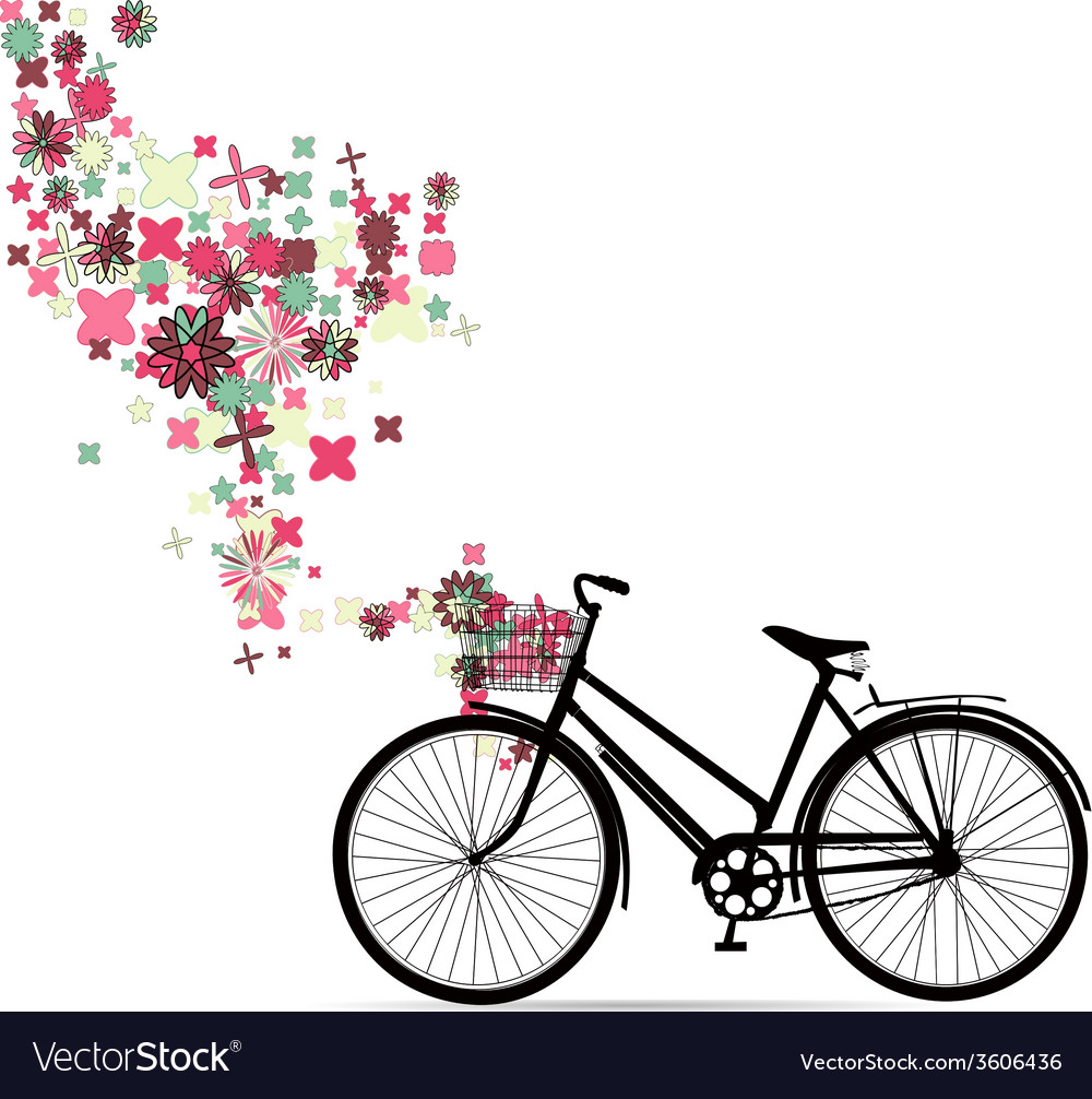 Bike with a basket in decorative flowers vector | Price: 1 Credit (USD $1)