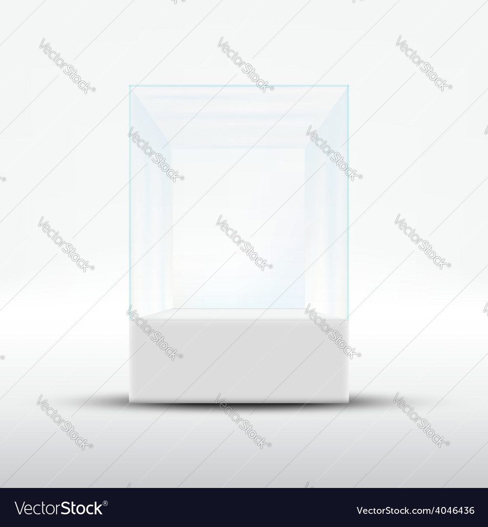 Empty glass showcase for exhibit isolated on white vector | Price: 1 Credit (USD $1)