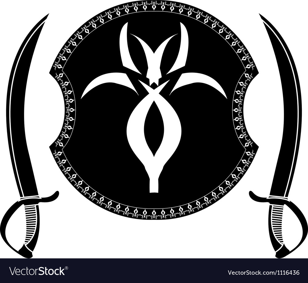 Fantasy shield and swords of pirates vector | Price: 1 Credit (USD $1)