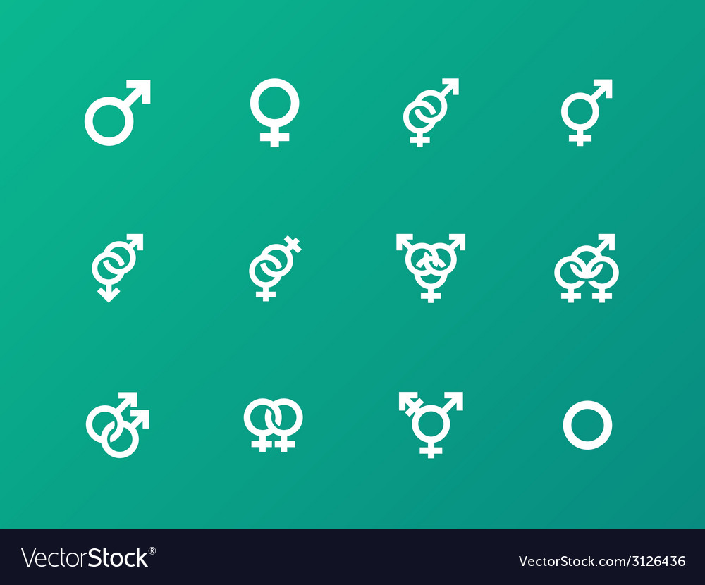 Gender symbol icons on green background vector | Price: 1 Credit (USD $1)