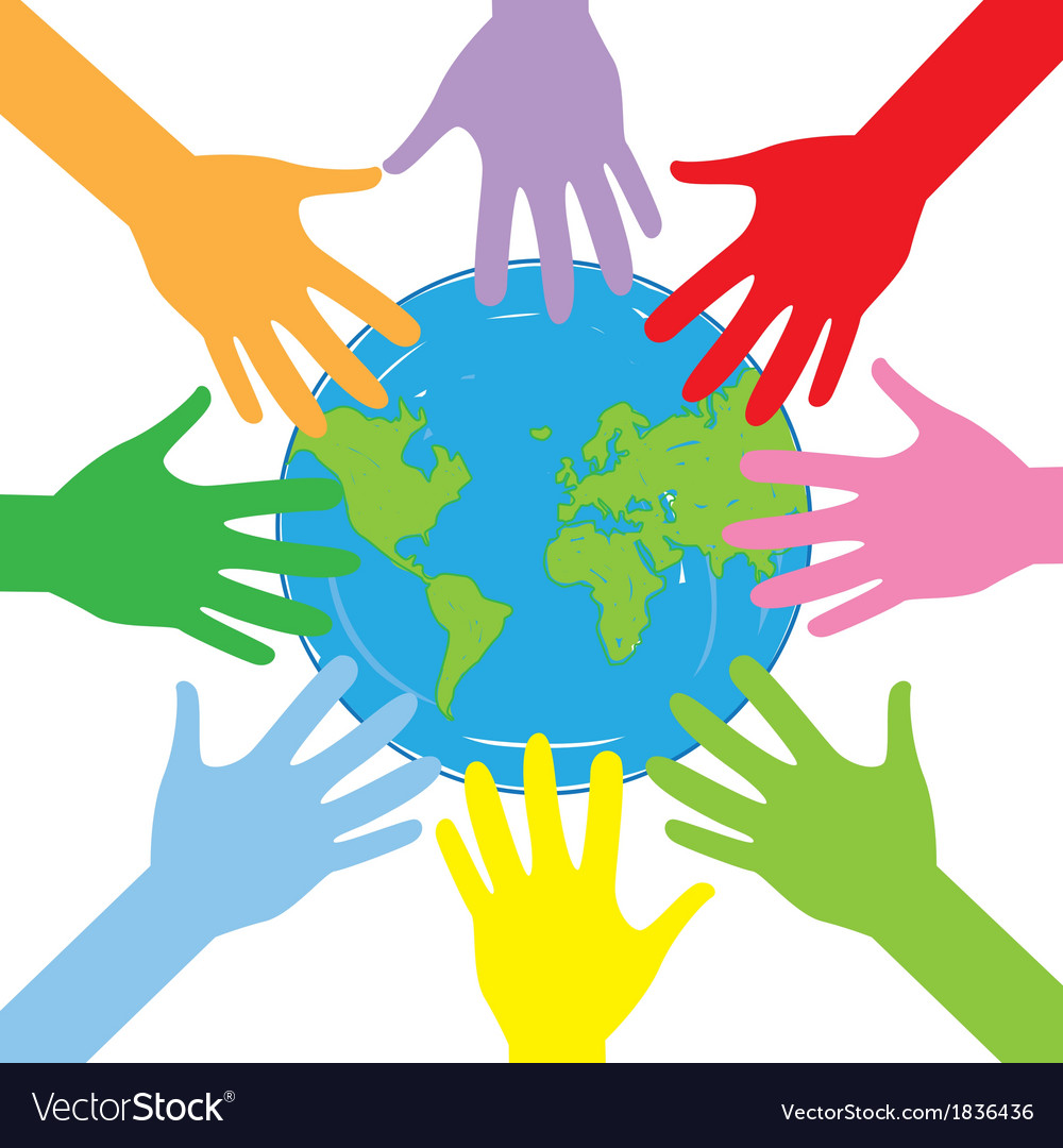 Hands around the globe vector | Price: 1 Credit (USD $1)