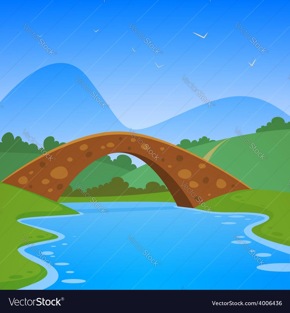 Landscape with bridge vector | Price: 5 Credit (USD $5)