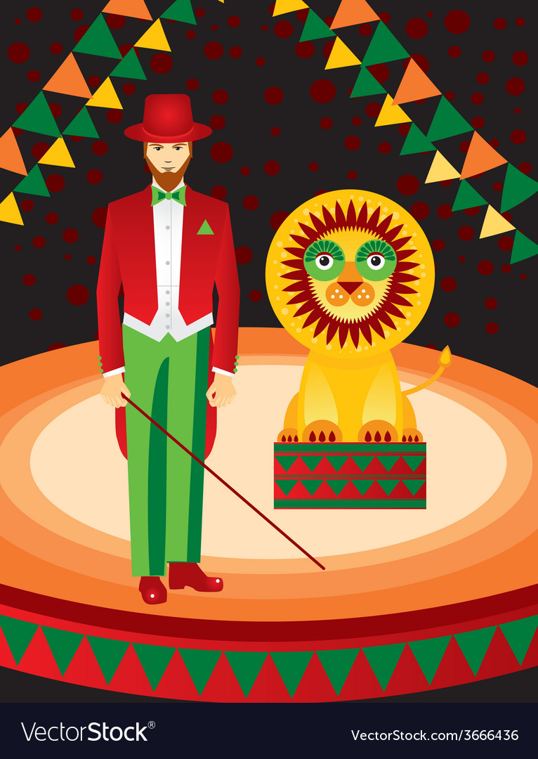 Lion and trainer in the circus art vector | Price: 1 Credit (USD $1)