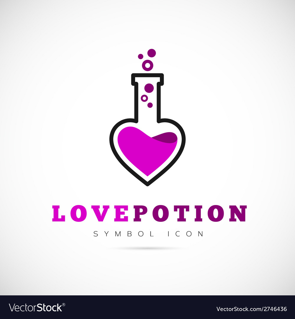 Love potion concept symbol icon or logo template vector | Price: 1 Credit (USD $1)