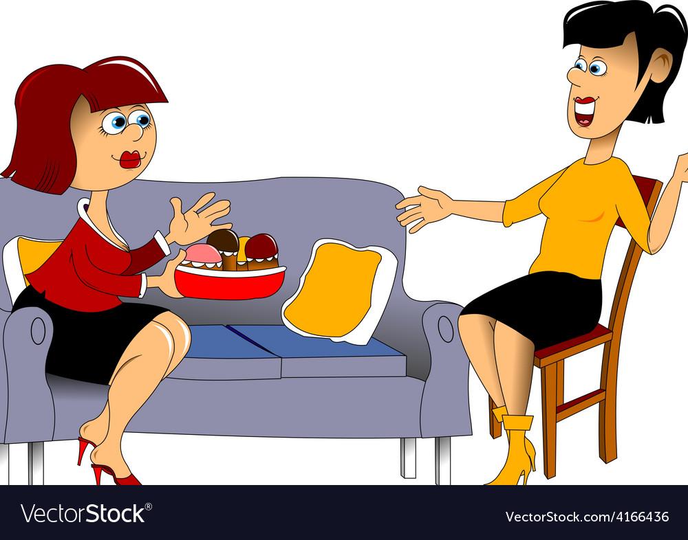 Meeting friends cartoon vector