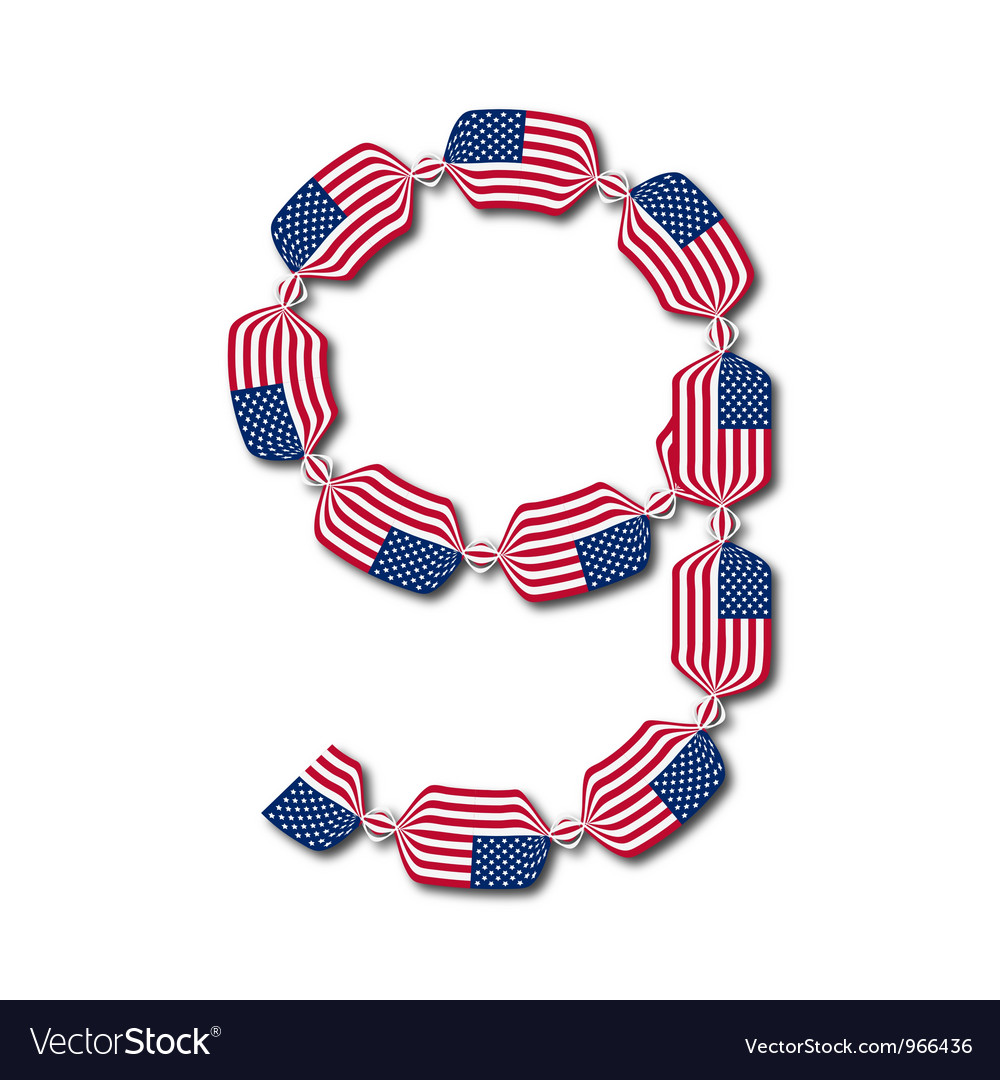 Number 9 made of usa flags in form of candies vector | Price: 1 Credit (USD $1)