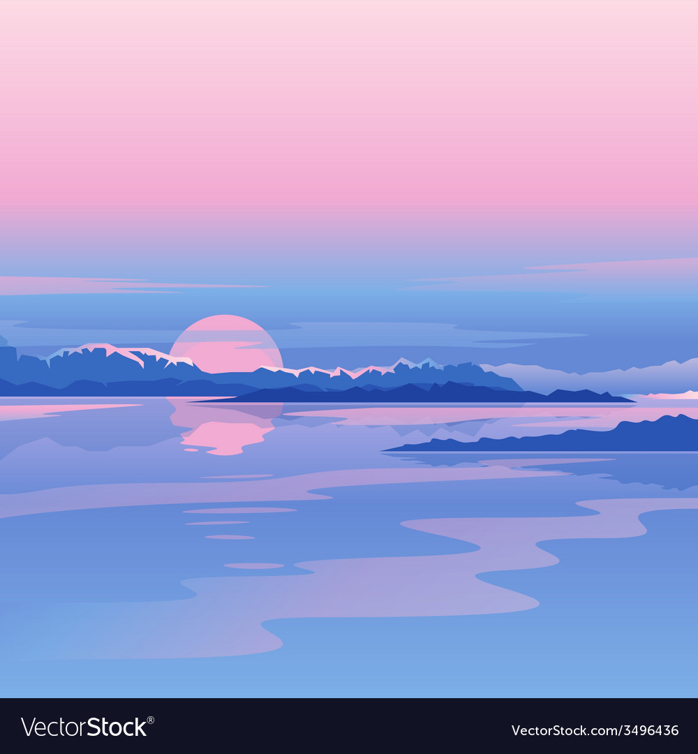 River sunset landscape vector | Price: 1 Credit (USD $1)