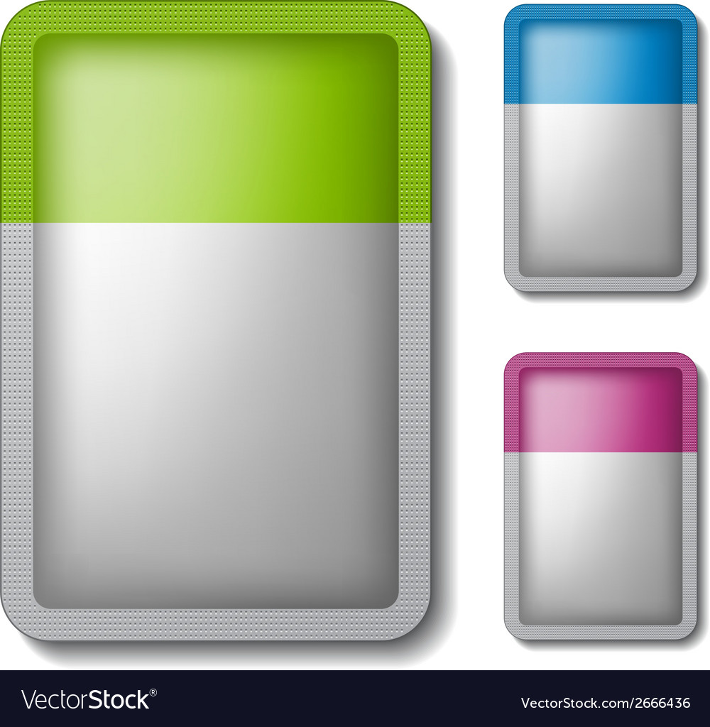 Sachet packaging silver color vector | Price: 1 Credit (USD $1)