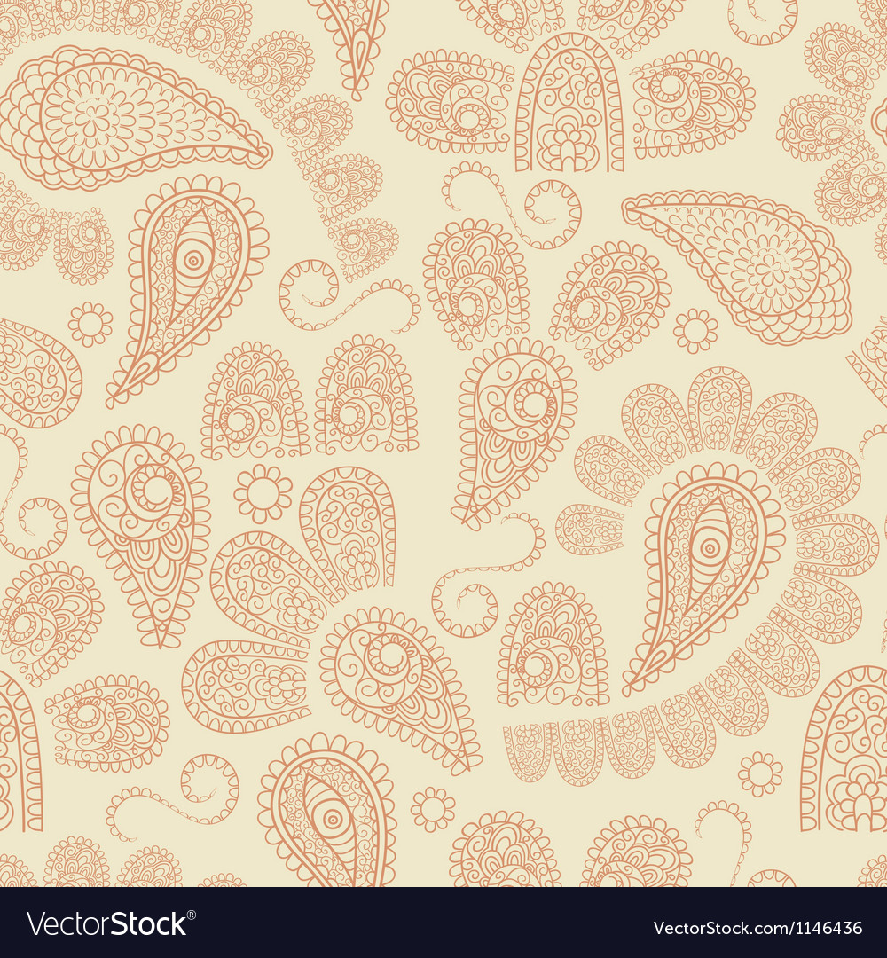 Seamless pattern with highly detailed paisley vector | Price: 1 Credit (USD $1)