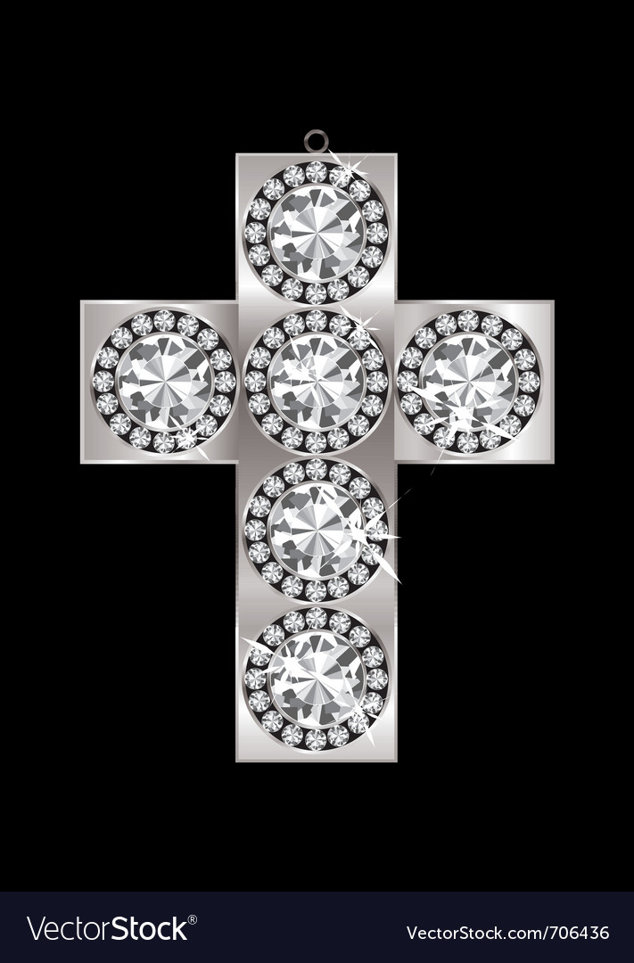 Silver crucifix pendant encrusted with diamonds an vector | Price: 1 Credit (USD $1)