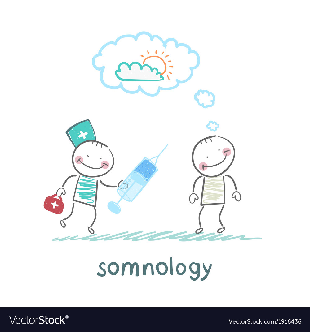Somnology stands next to a syringe with a patient vector | Price: 1 Credit (USD $1)
