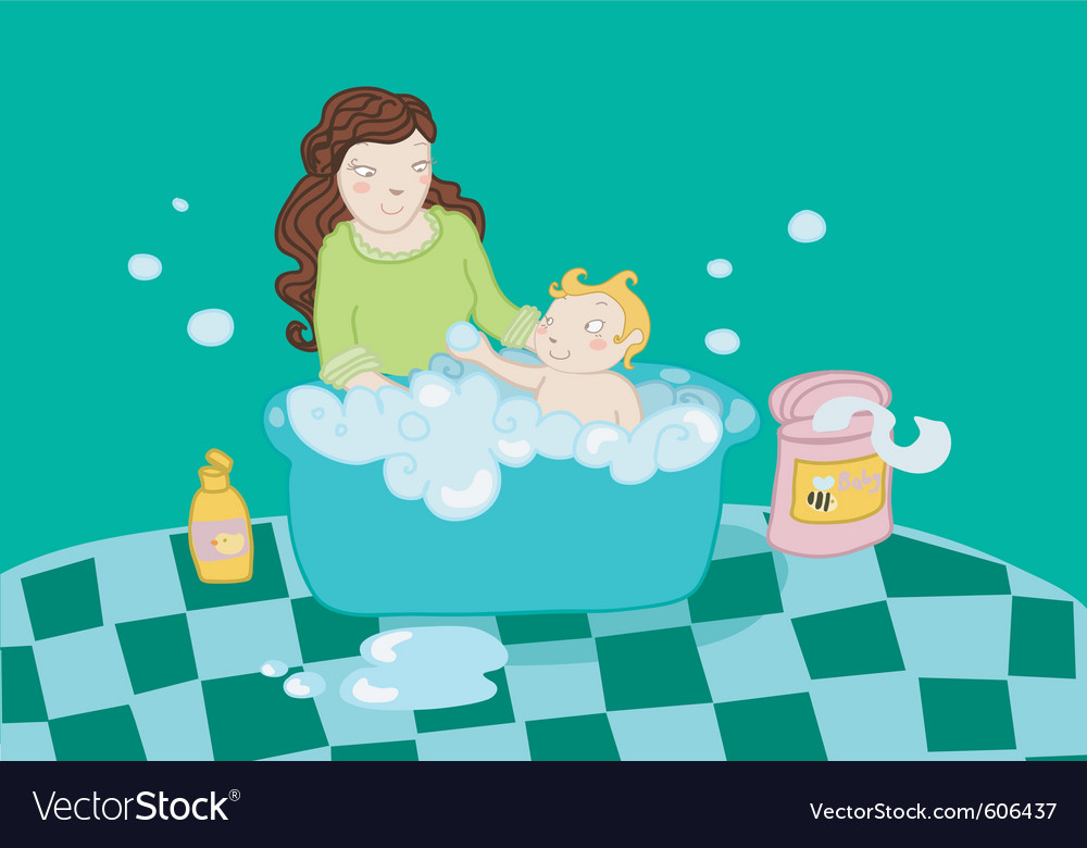 A baby take a bath with his mother vector | Price: 1 Credit (USD $1)