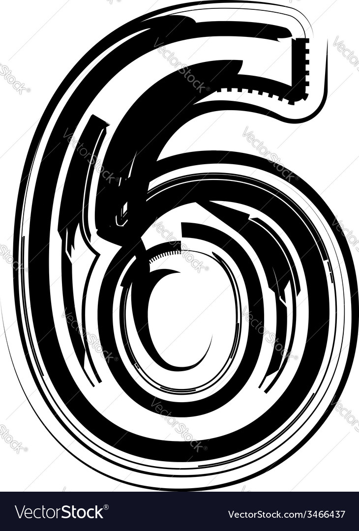 Abstract number 6 vector | Price: 1 Credit (USD $1)