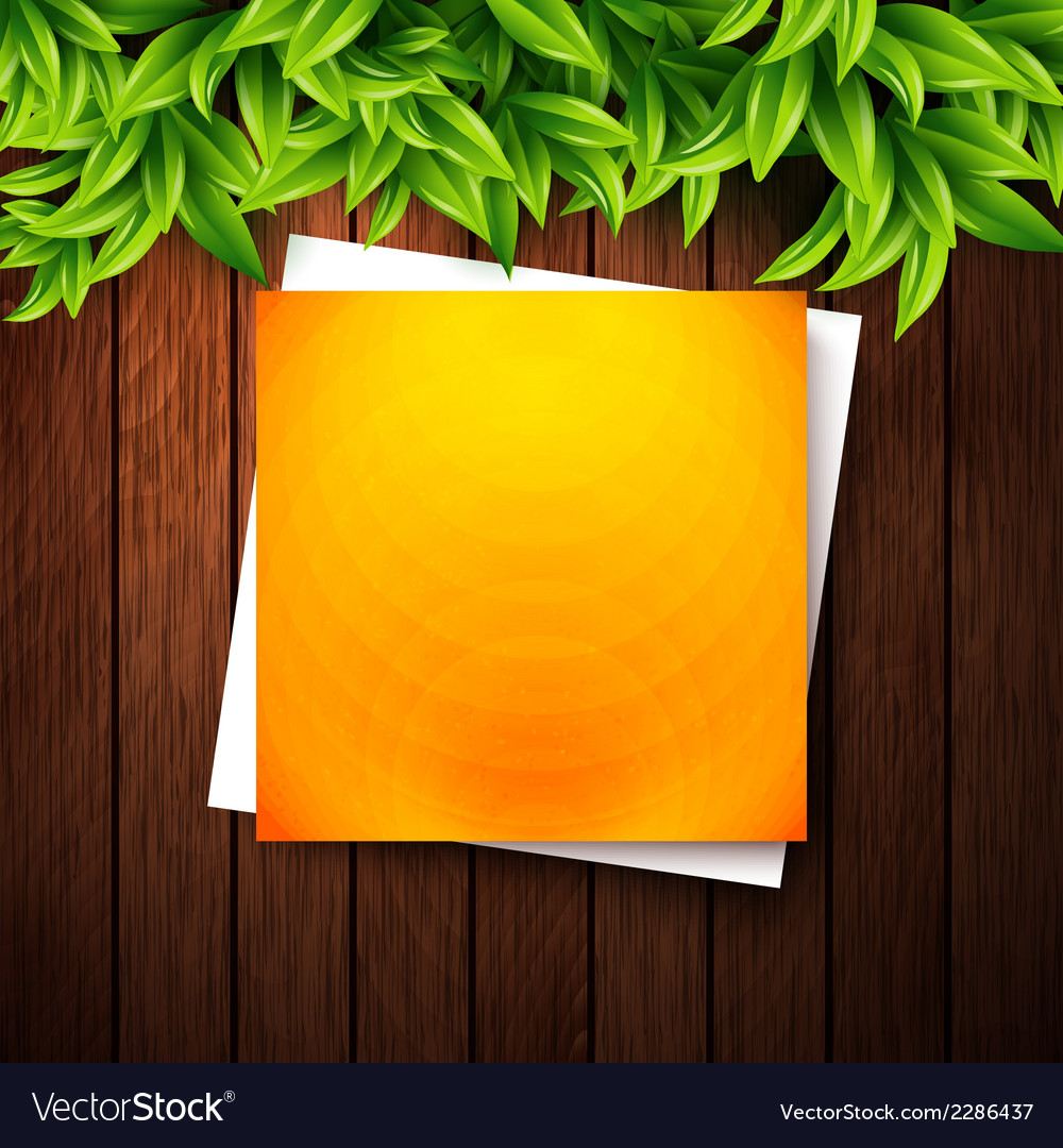 Abstract orange note paper on wooden background vector | Price: 1 Credit (USD $1)