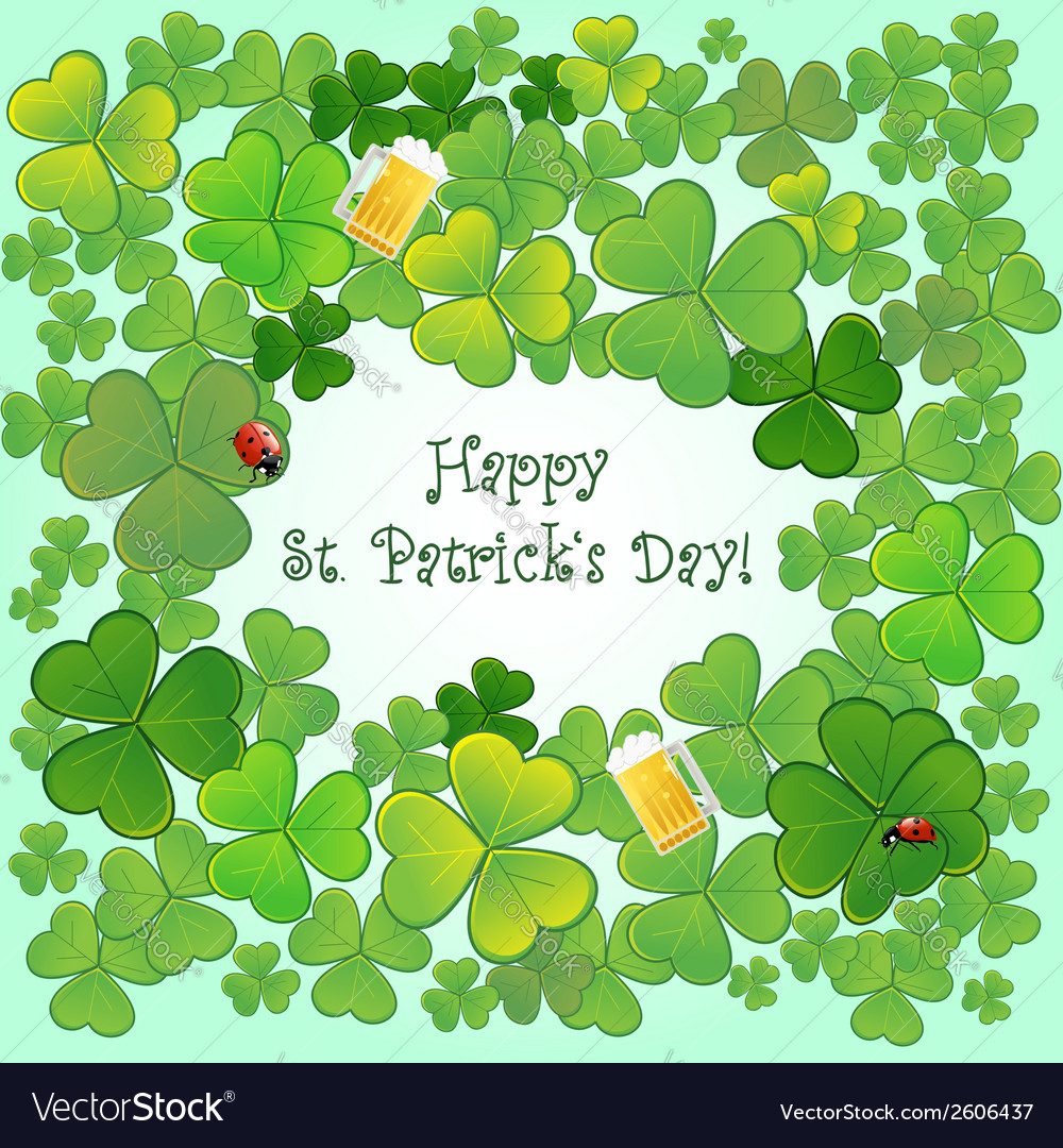Background for stpatricks day with clovers vector   Price: 1 Credit (USD $1)