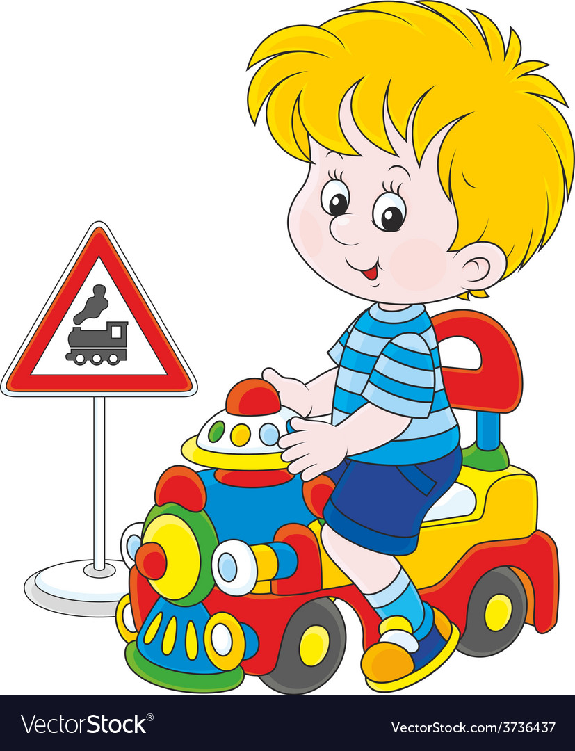 Boy on a toy train vector | Price: 1 Credit (USD $1)