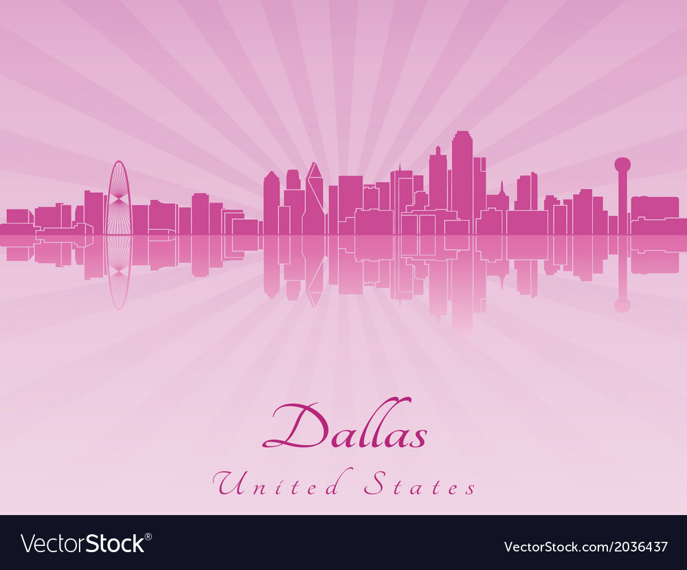 Dallas skyline in purple radiant orchid vector | Price: 1 Credit (USD $1)