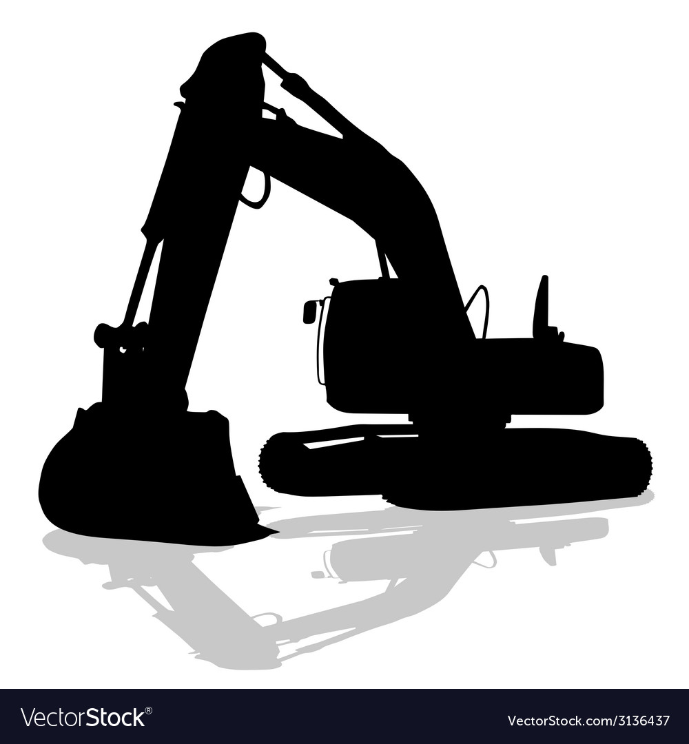 Digger work machine black silhouette vector | Price: 1 Credit (USD $1)