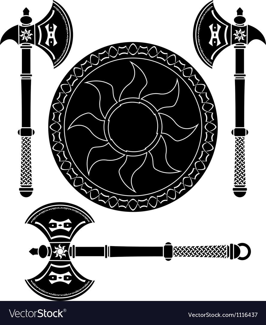 Fantasy shield and swords of vikings vector | Price: 1 Credit (USD $1)