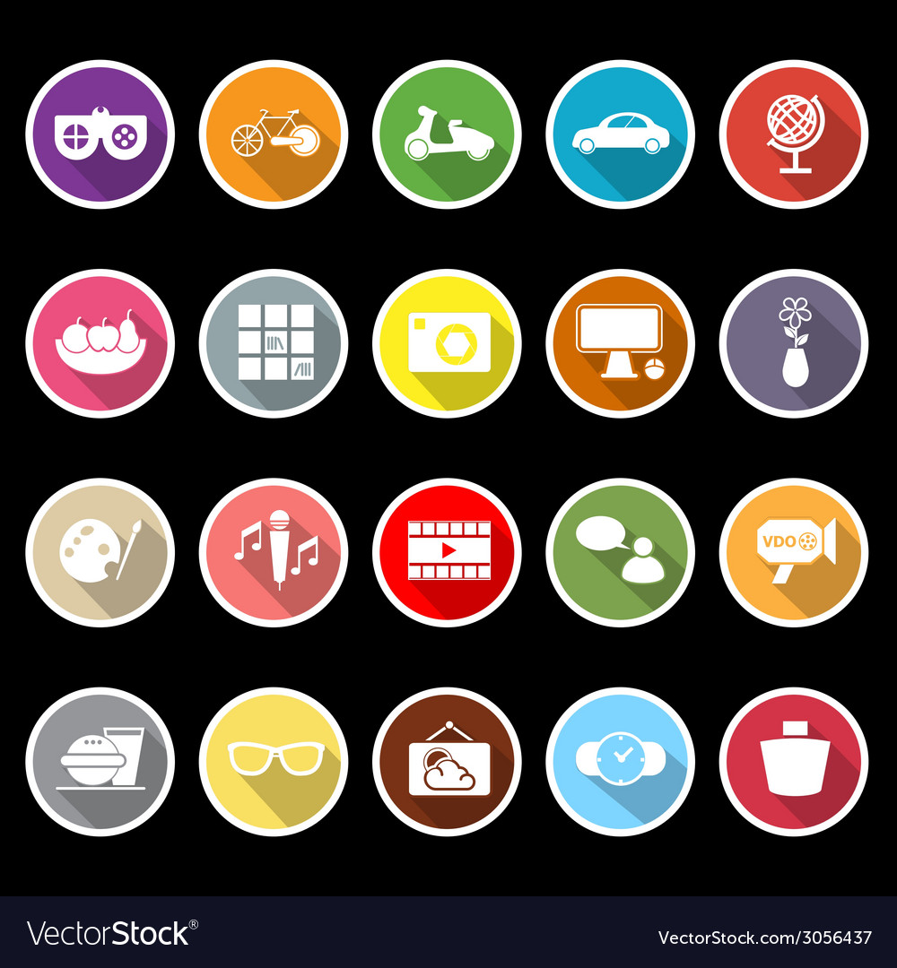 Favorite and like flat icons with long shadow vector | Price: 1 Credit (USD $1)