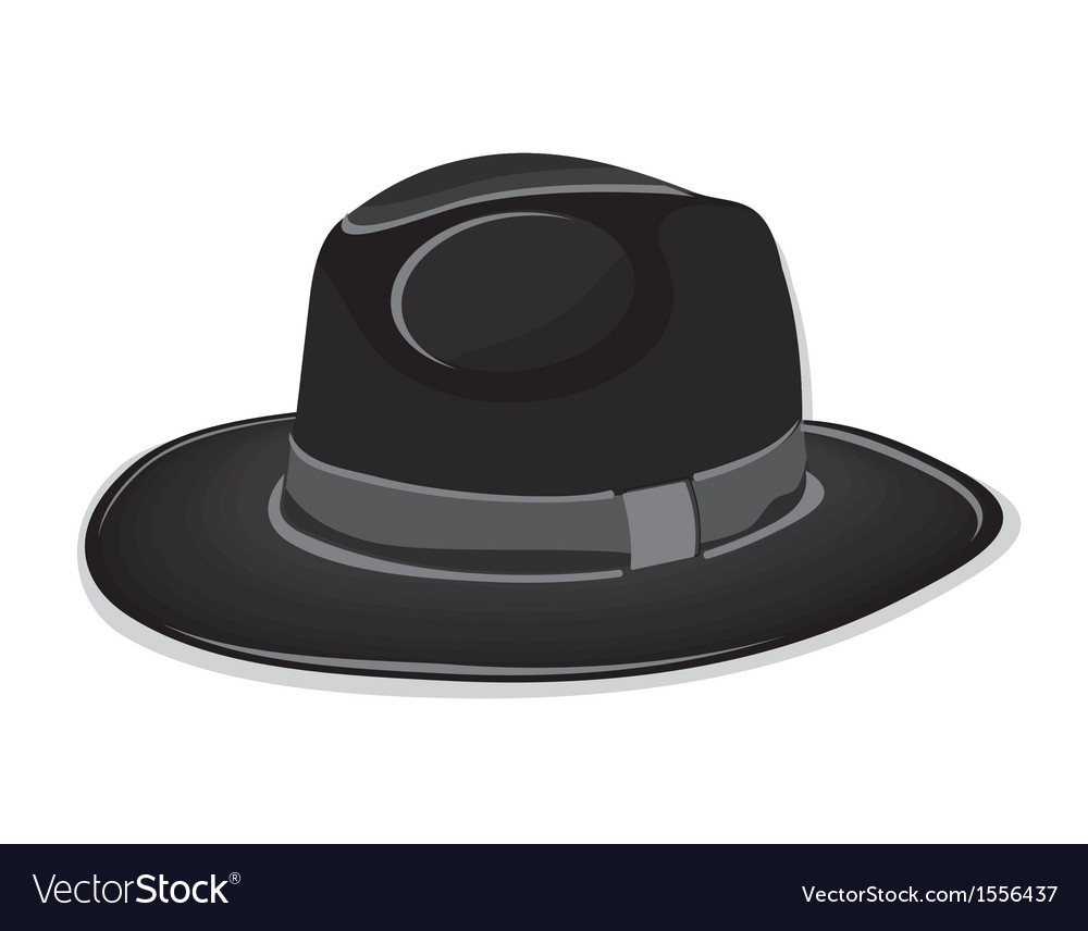 Gangster black hat on the white background vector | Price: 1 Credit (USD $1)