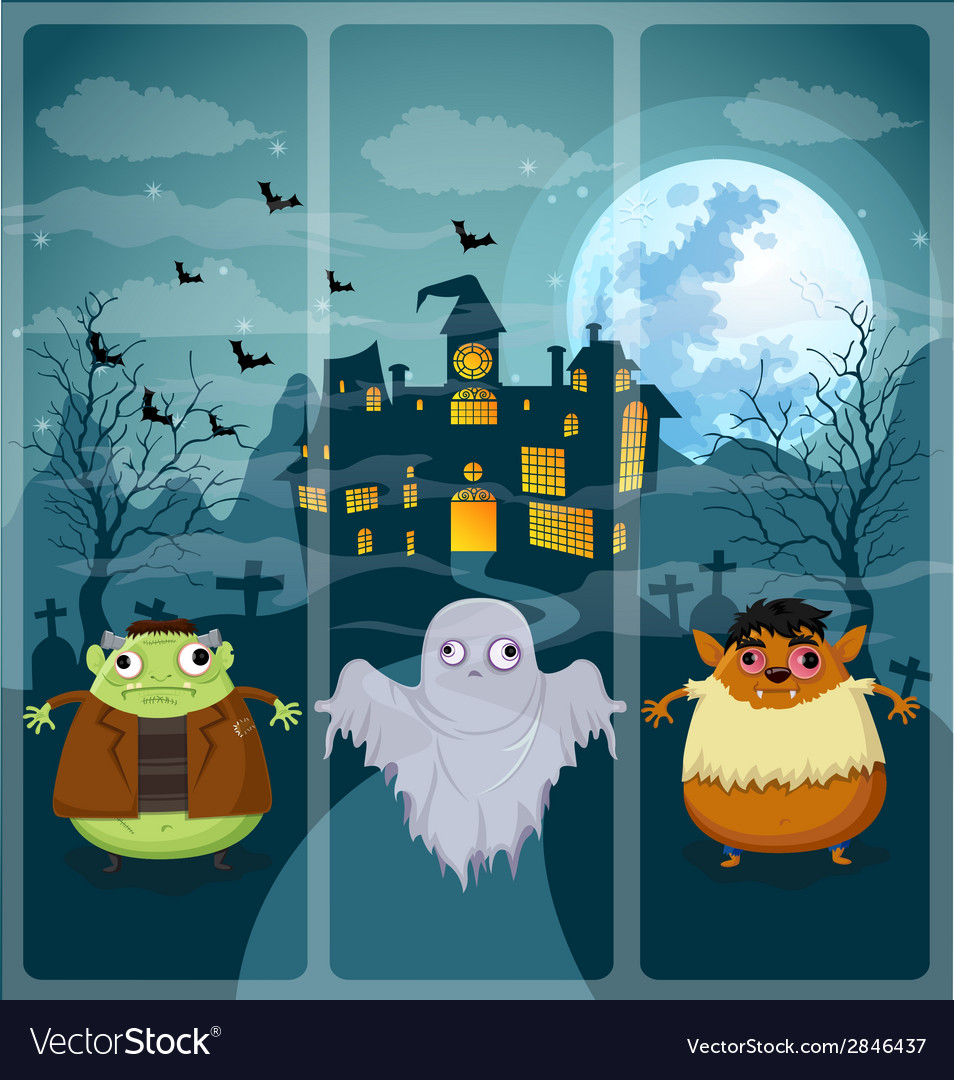 Halloween and background set 3 vector | Price: 1 Credit (USD $1)