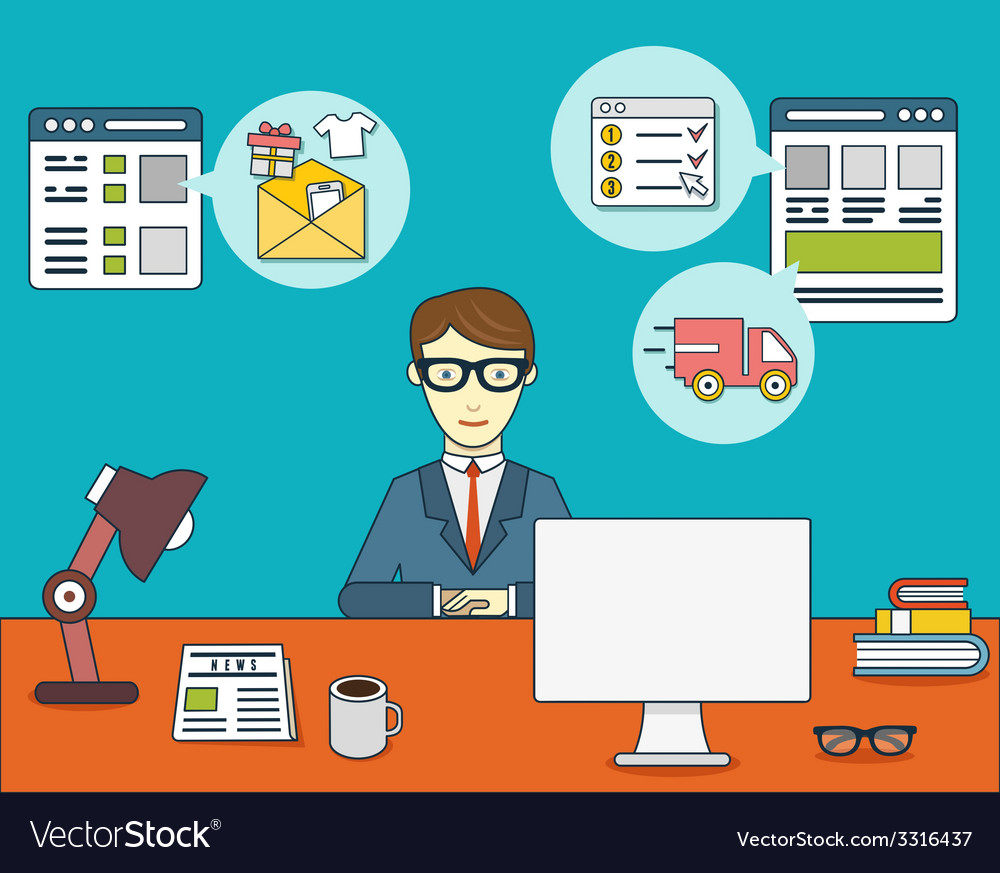 Online shopping for businessman vector | Price: 1 Credit (USD $1)