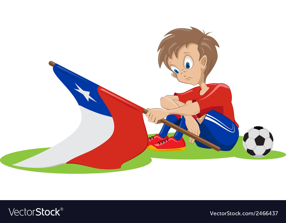 Sad chile soccer fan vector | Price: 1 Credit (USD $1)