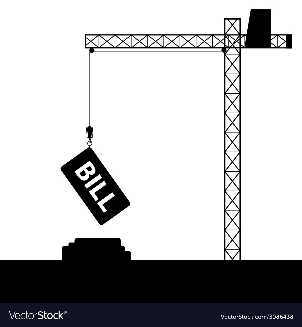 Bill icon with crane construction vector | Price: 1 Credit (USD $1)