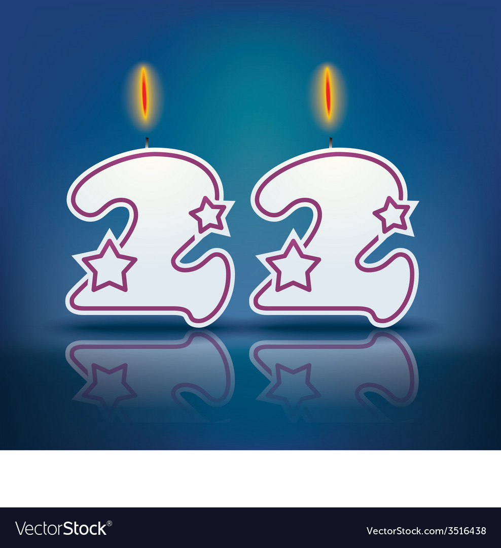 Birthday candle number 22 vector | Price: 1 Credit (USD $1)