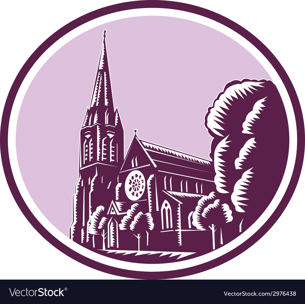 Christchurch cathedral woodcut retro vector | Price: 1 Credit (USD $1)