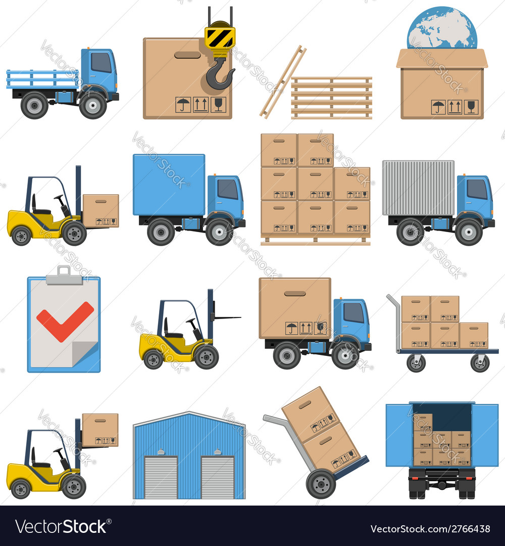 Flat icons shipping vector | Price: 1 Credit (USD $1)