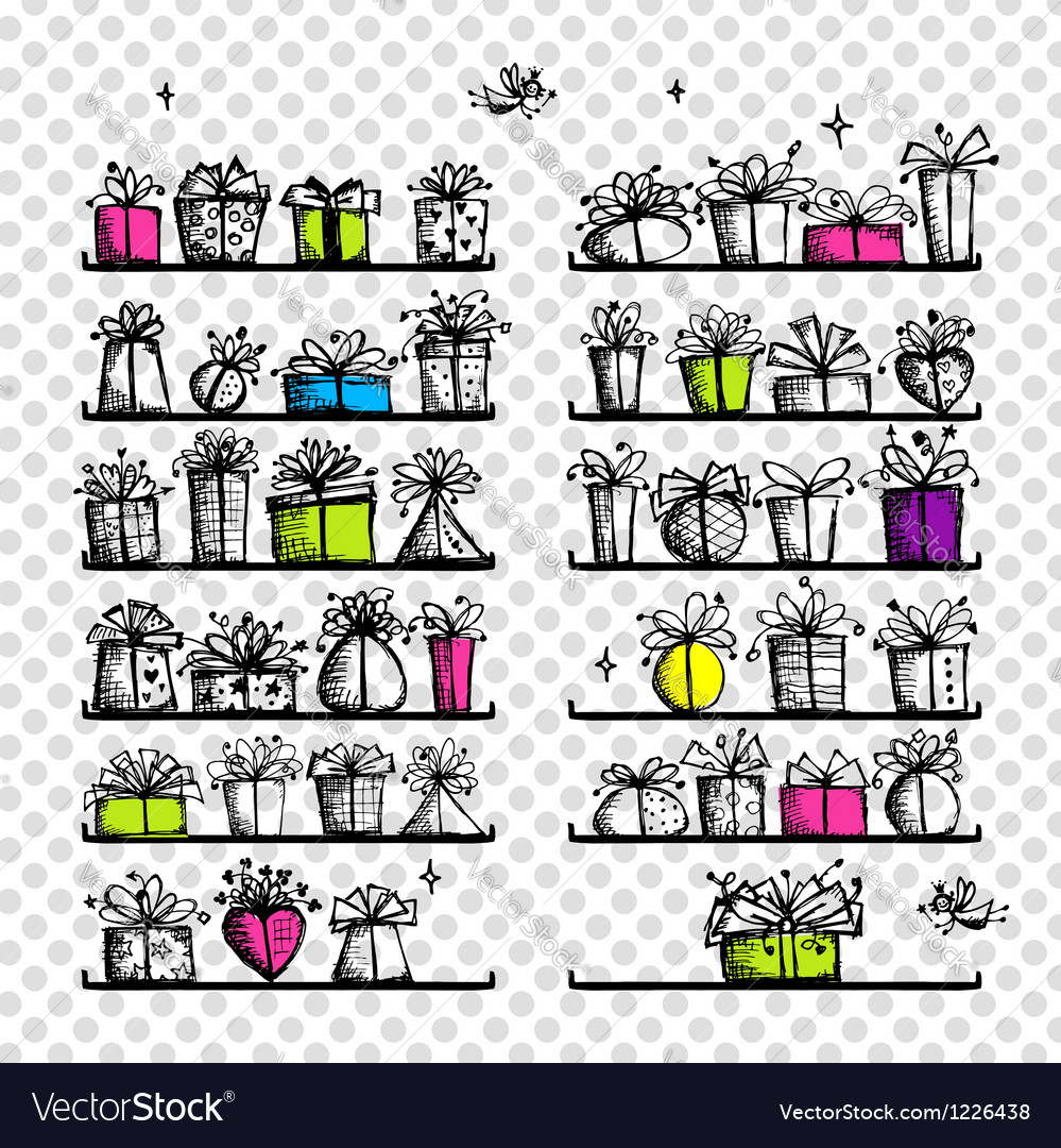 Gift boxes on shelves sketch drawing for your vector | Price: 1 Credit (USD $1)