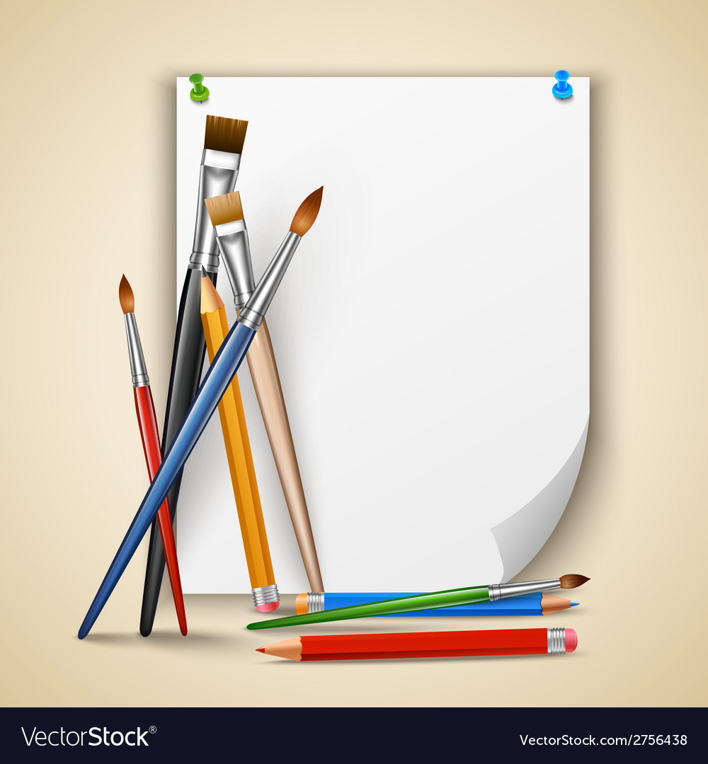 Paint brush and paper vector | Price: 1 Credit (USD $1)