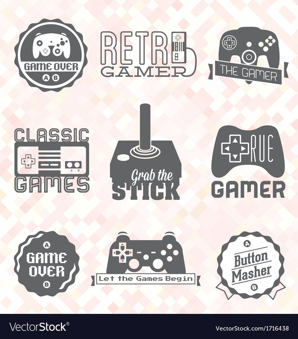 Retro video game shop labels vector | Price: 1 Credit (USD $1)