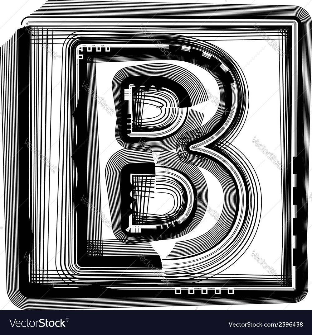 Striped font letter b vector | Price: 1 Credit (USD $1)