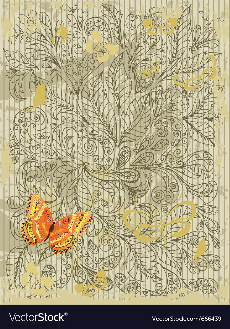 Abstract grunge design with butterflies vector | Price: 1 Credit (USD $1)