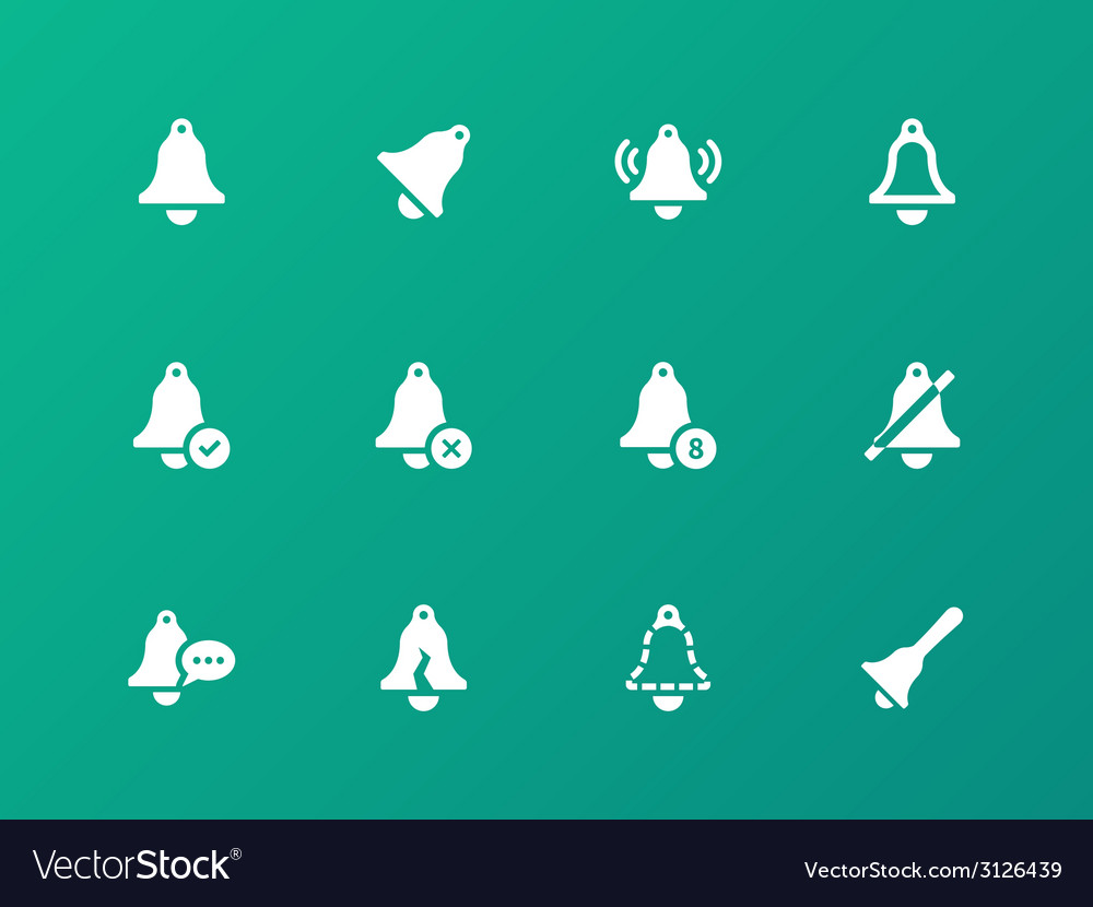 Alarm bell icons on green background vector | Price: 1 Credit (USD $1)