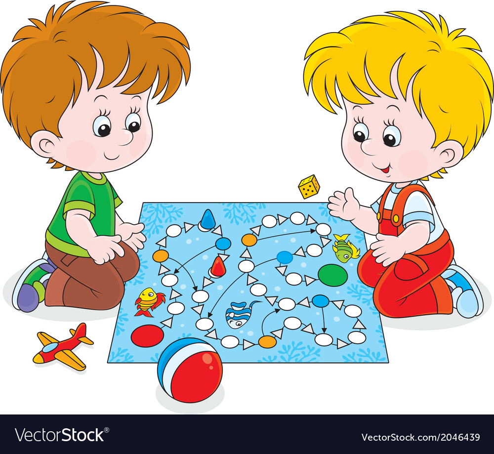 Boys playing with a boardgame vector | Price: 1 Credit (USD $1)